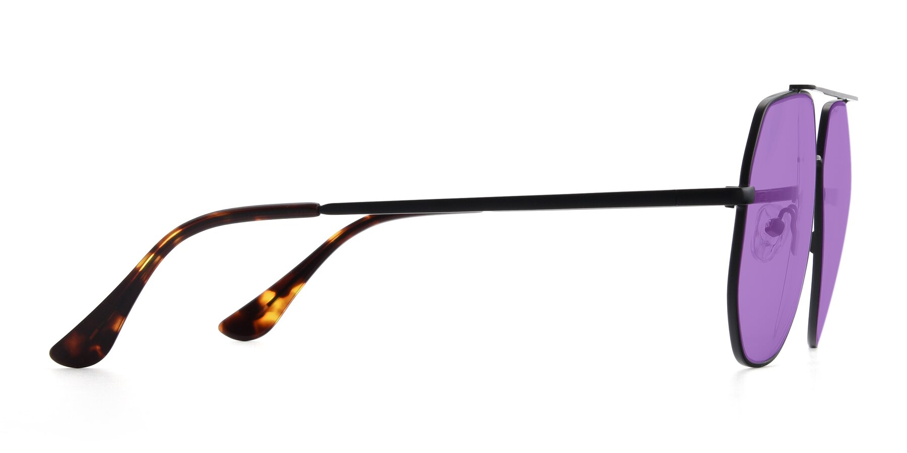 Side of 9438 in Black with Medium Purple Tinted Lenses