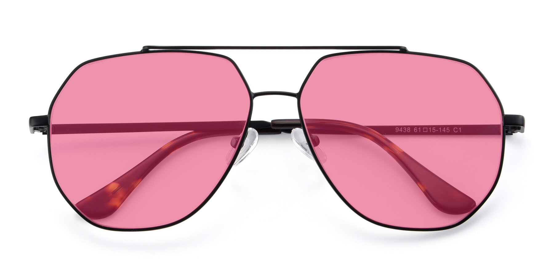 Folded Front of 9438 in Black with Pink Tinted Lenses