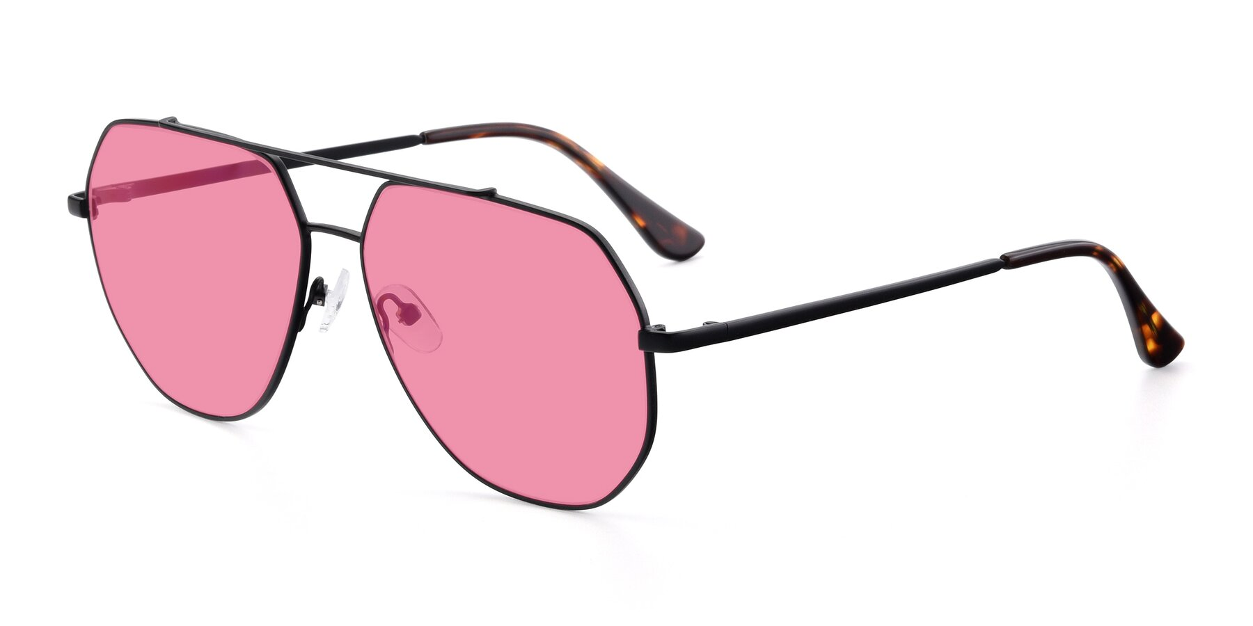 Angle of 9438 in Black with Pink Tinted Lenses