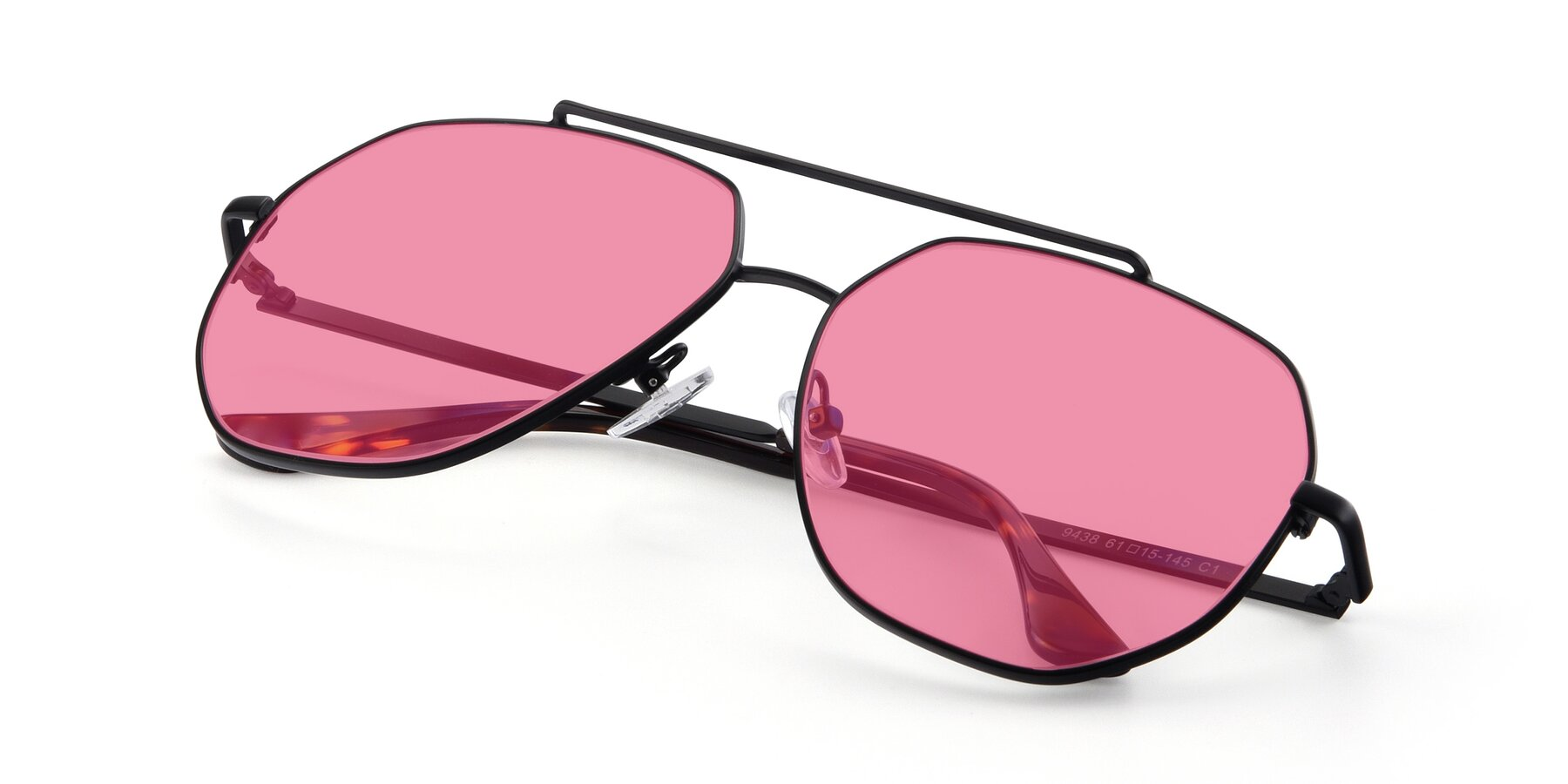 View of 9438 in Black with Pink Tinted Lenses
