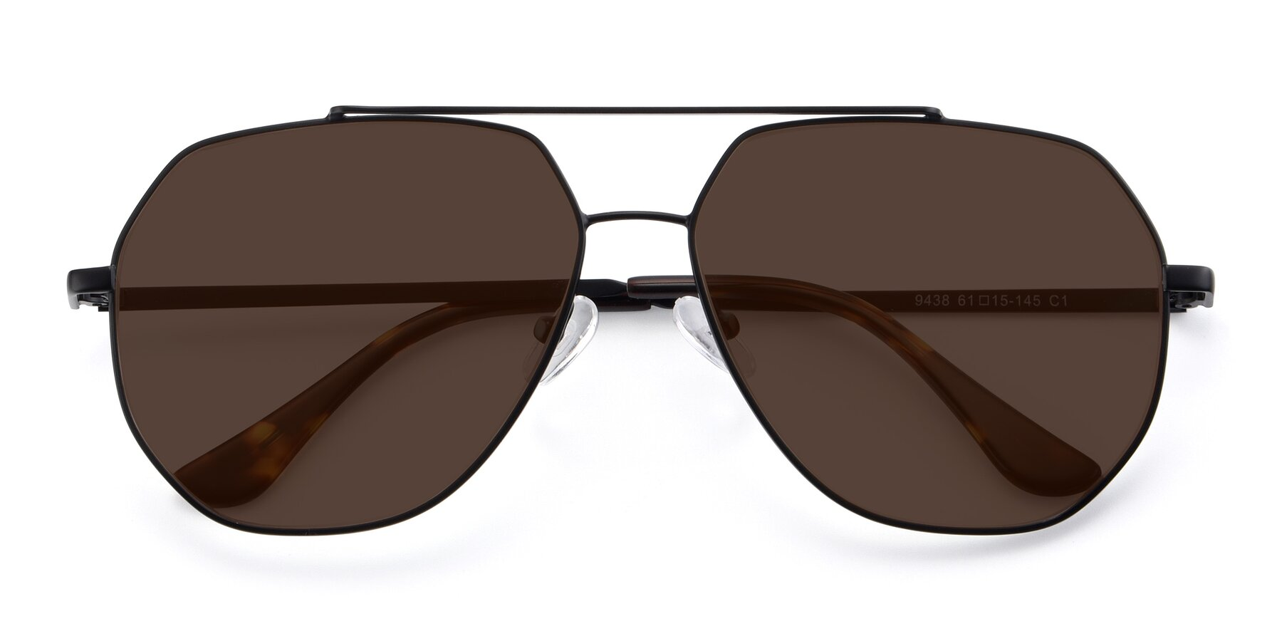 Folded Front of 9438 in Black with Brown Tinted Lenses