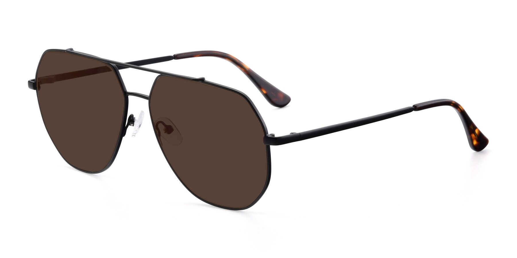 Angle of 9438 in Black with Brown Tinted Lenses