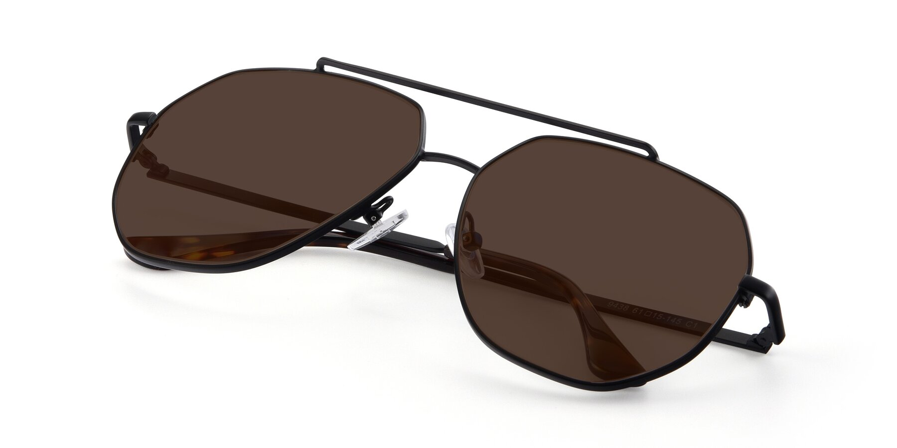 View of 9438 in Black with Brown Tinted Lenses