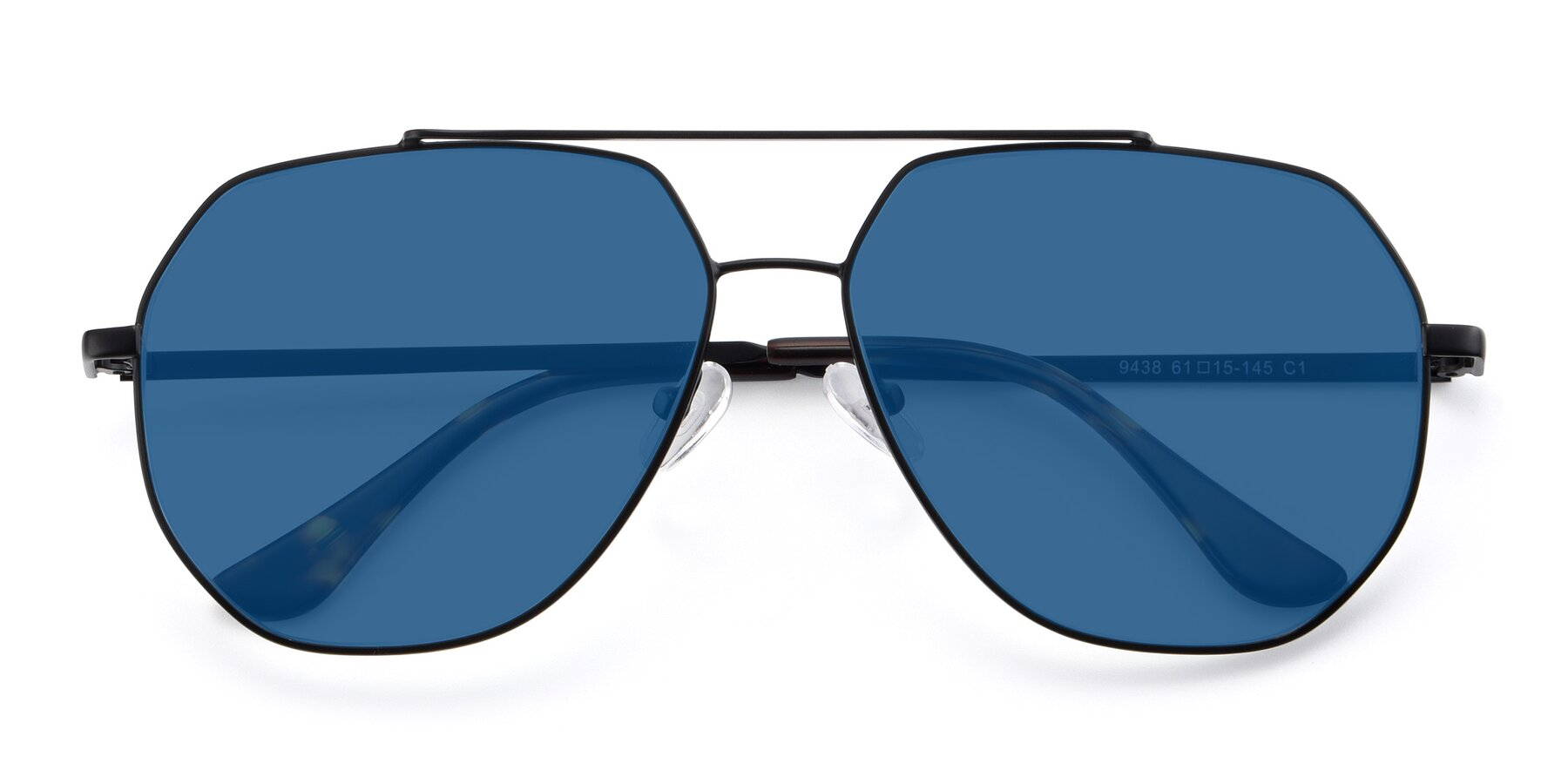 Folded Front of 9438 in Black with Blue Tinted Lenses