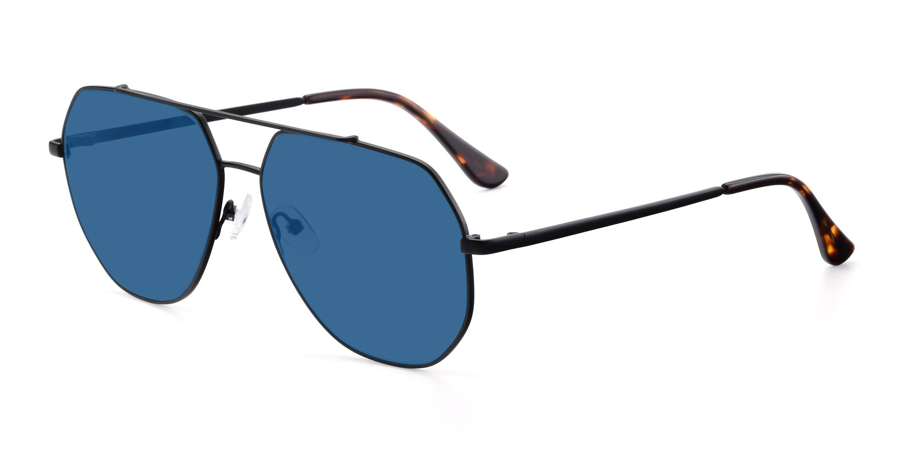 Angle of 9438 in Black with Blue Tinted Lenses