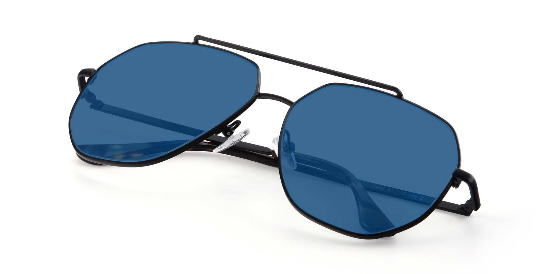 View of 9438 in Black with Blue Tinted Lenses
