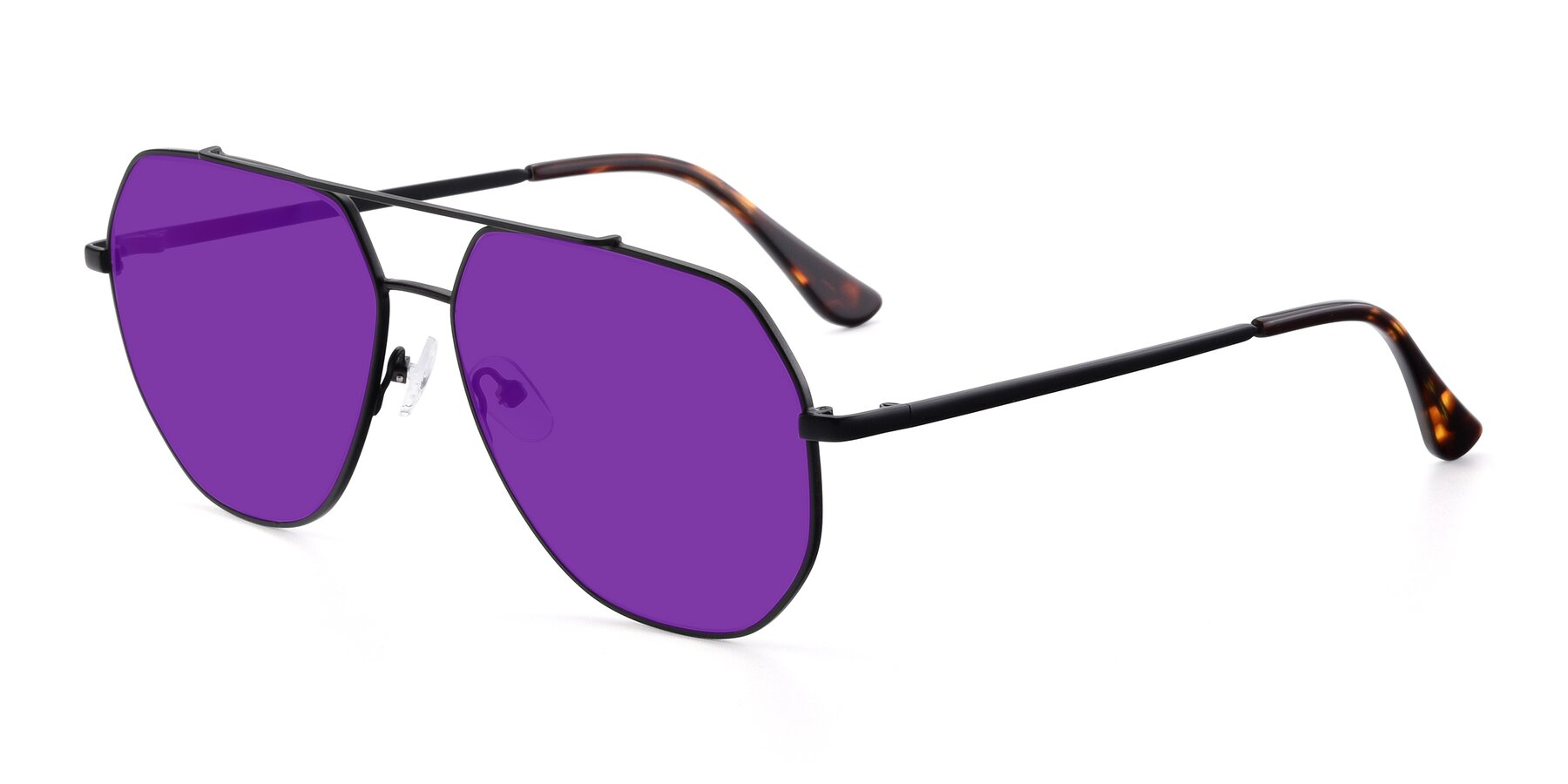 Angle of 9438 in Black with Purple Tinted Lenses