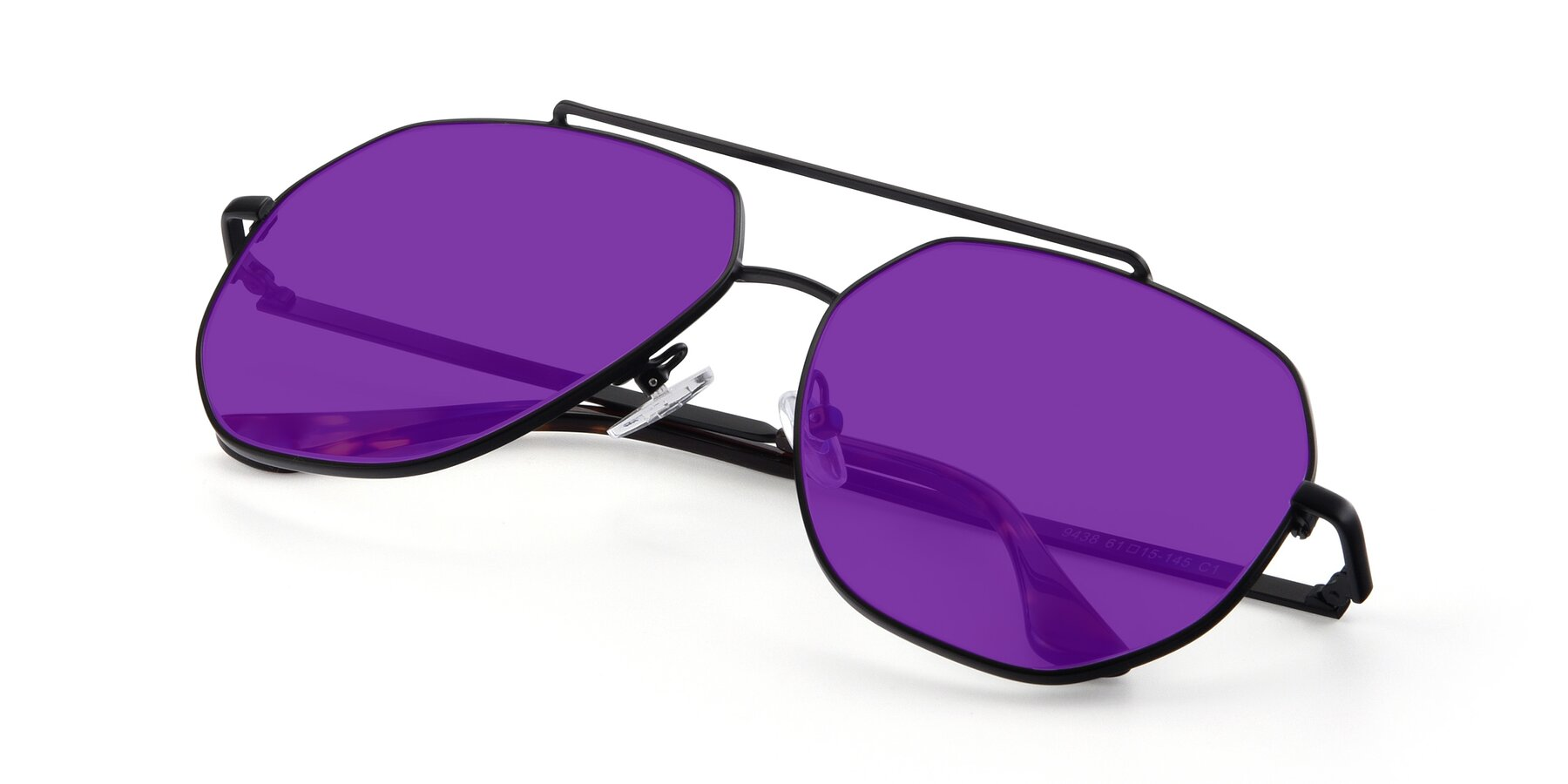 View of 9438 in Black with Purple Tinted Lenses