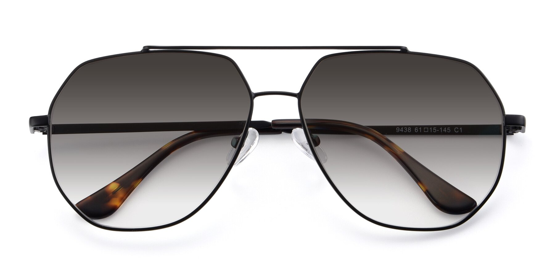 Folded Front of 9438 in Black with Gray Gradient Lenses