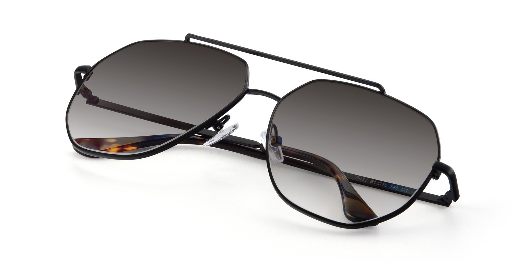 View of 9438 in Black with Gray Gradient Lenses