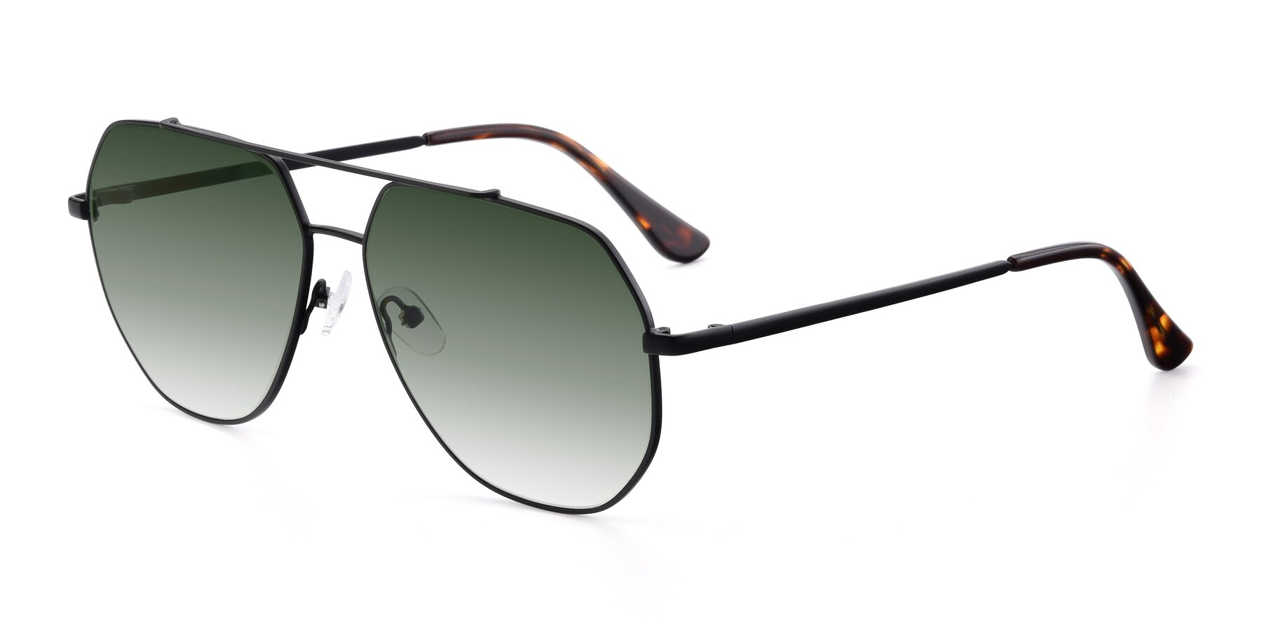 Angle of 9438 in Black with Green Gradient Lenses