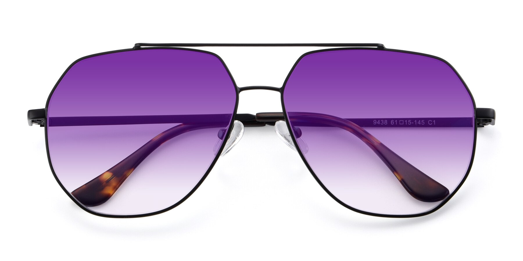 Folded Front of 9438 in Black with Purple Gradient Lenses