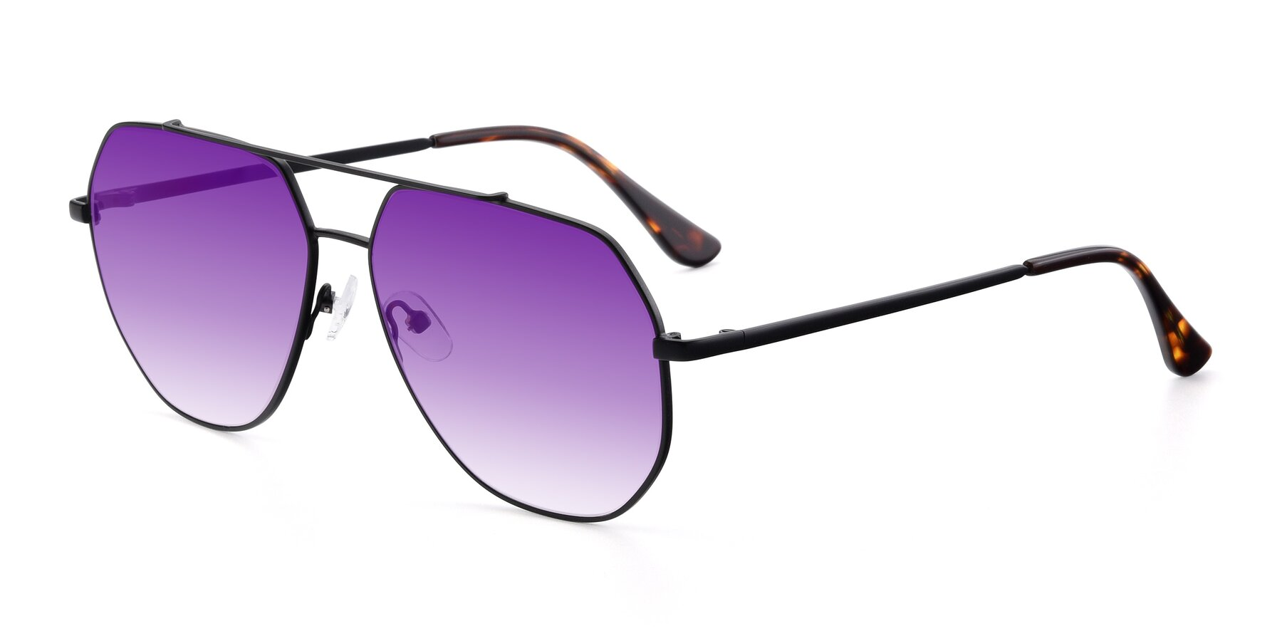 Angle of 9438 in Black with Purple Gradient Lenses