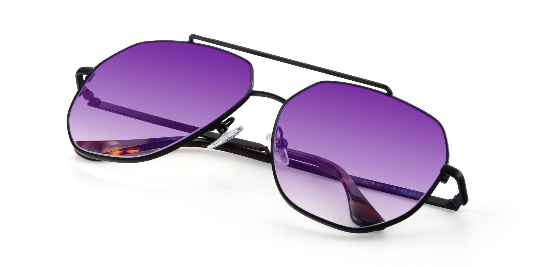 View of 9438 in Black with Purple Gradient Lenses