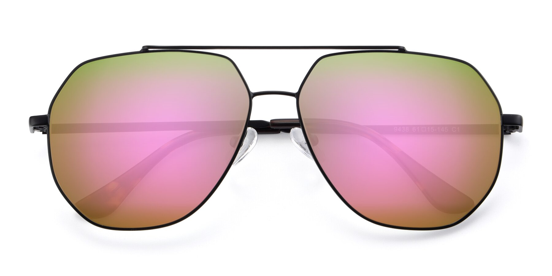 Folded Front of 9438 in Black with Pink Mirrored Lenses