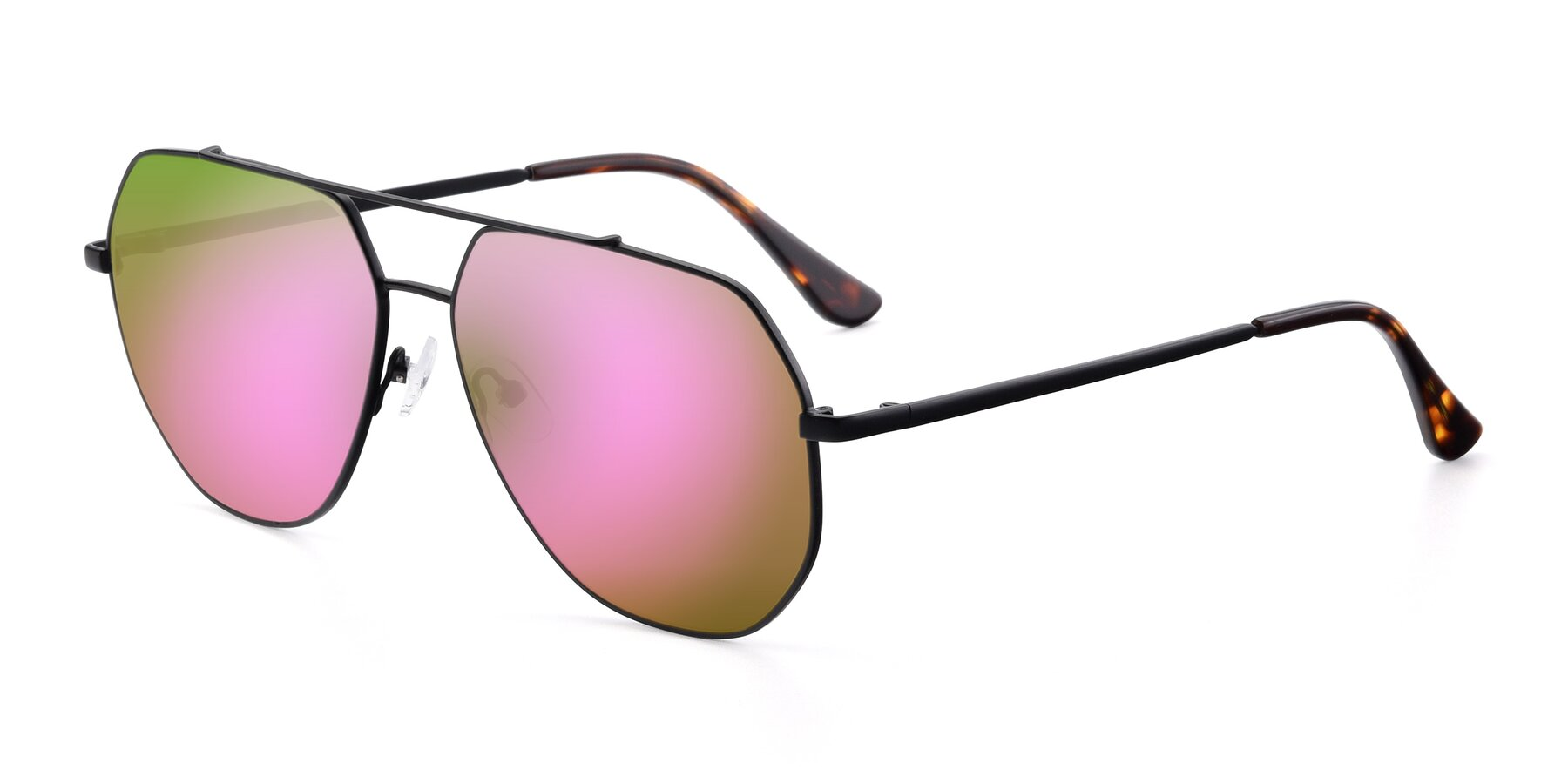 Angle of 9438 in Black with Pink Mirrored Lenses