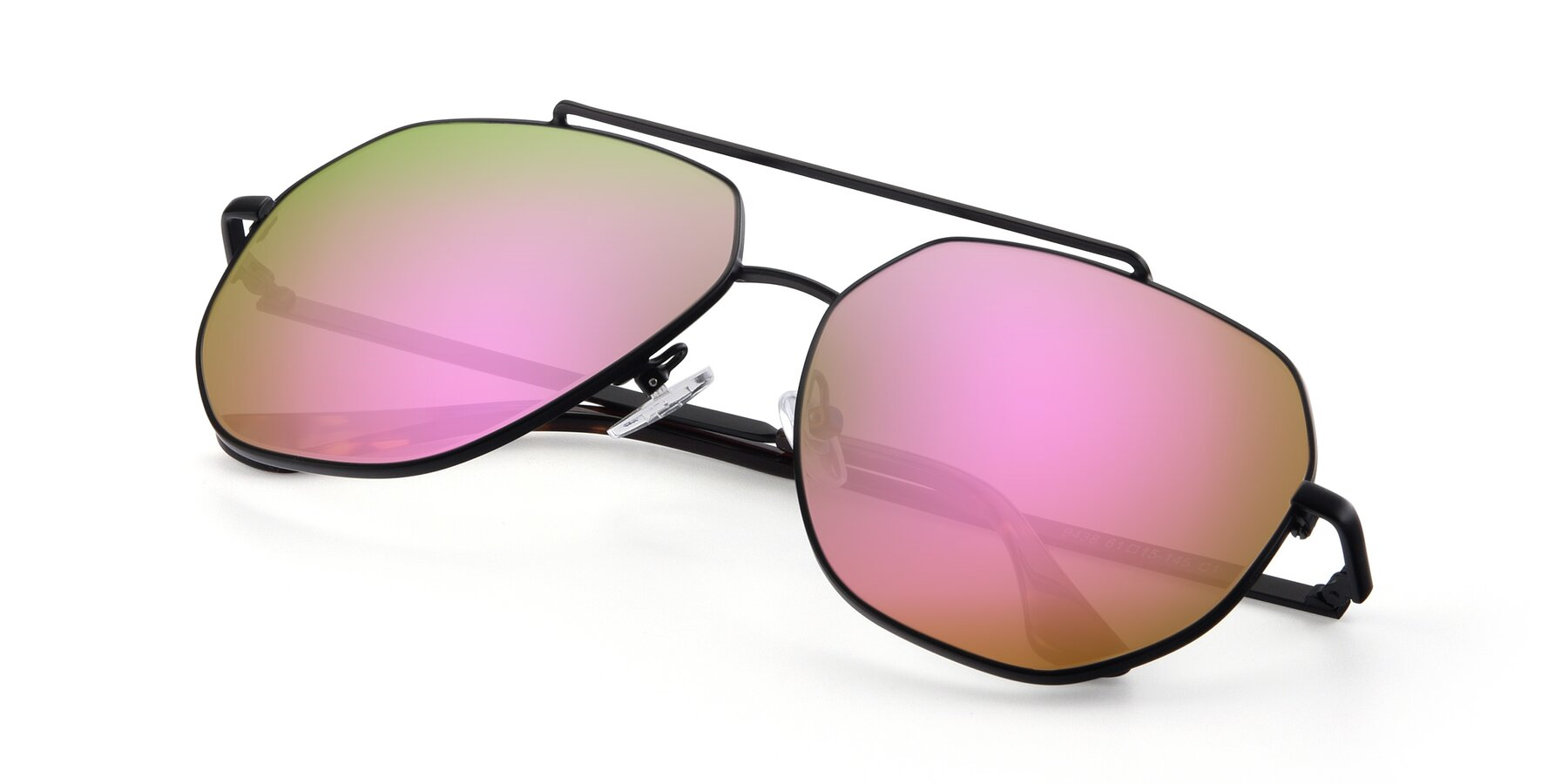 View of 9438 in Black with Pink Mirrored Lenses