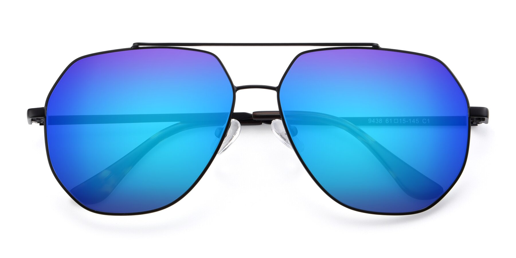 Folded Front of 9438 in Black with Blue Mirrored Lenses