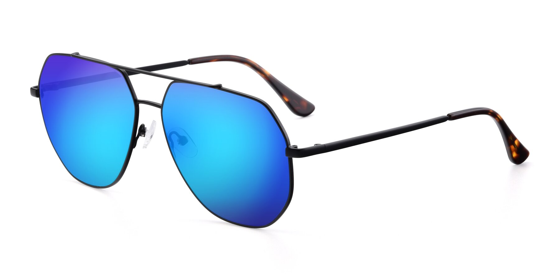 Angle of 9438 in Black with Blue Mirrored Lenses