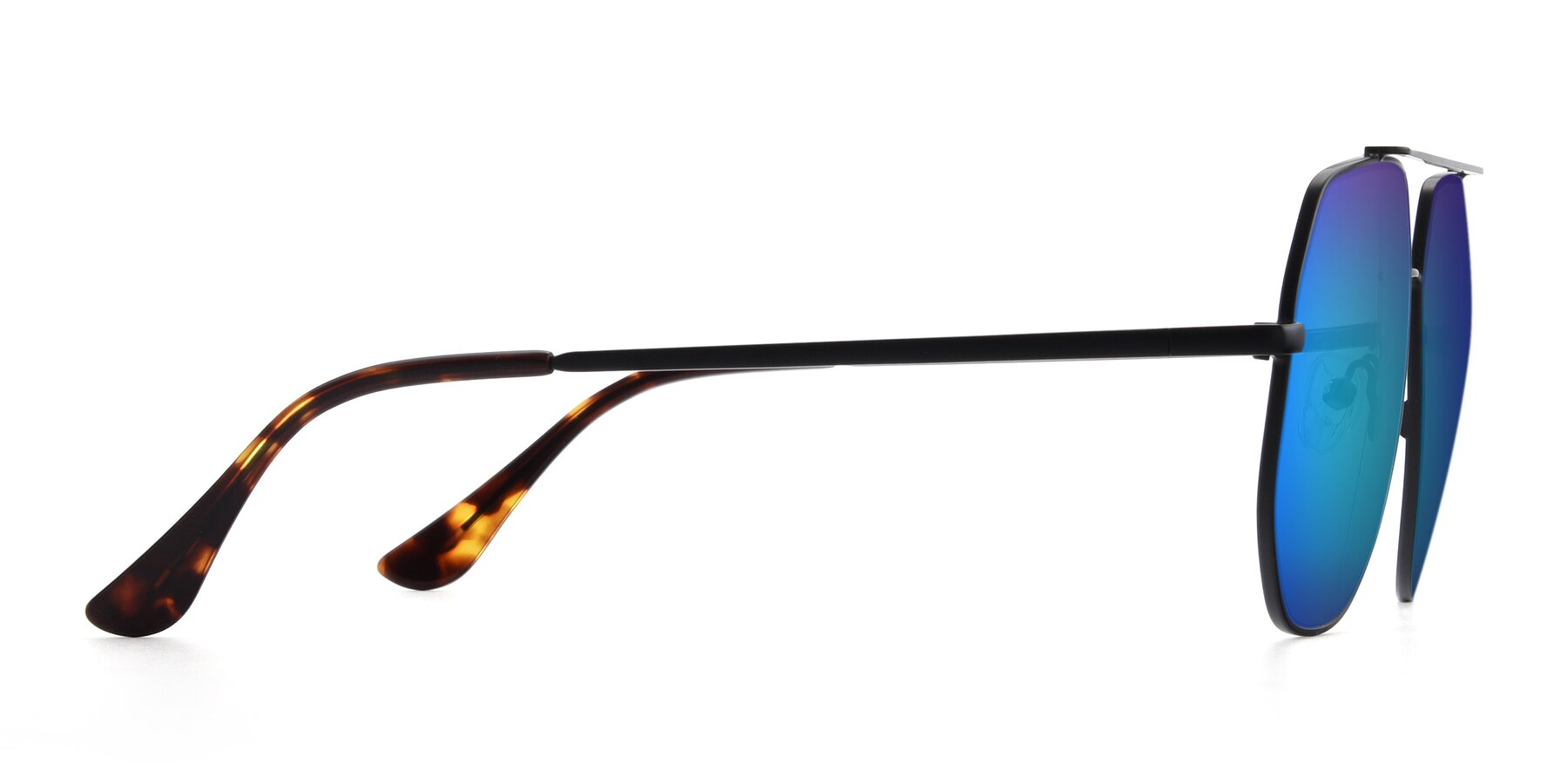 Side of 9438 in Black with Blue Mirrored Lenses