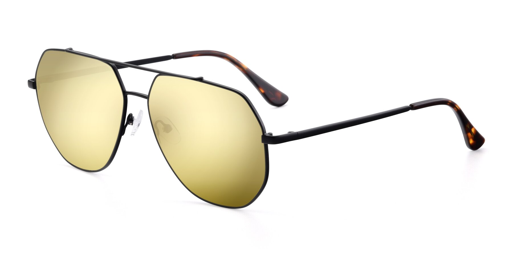 Angle of 9438 in Black with Gold Mirrored Lenses