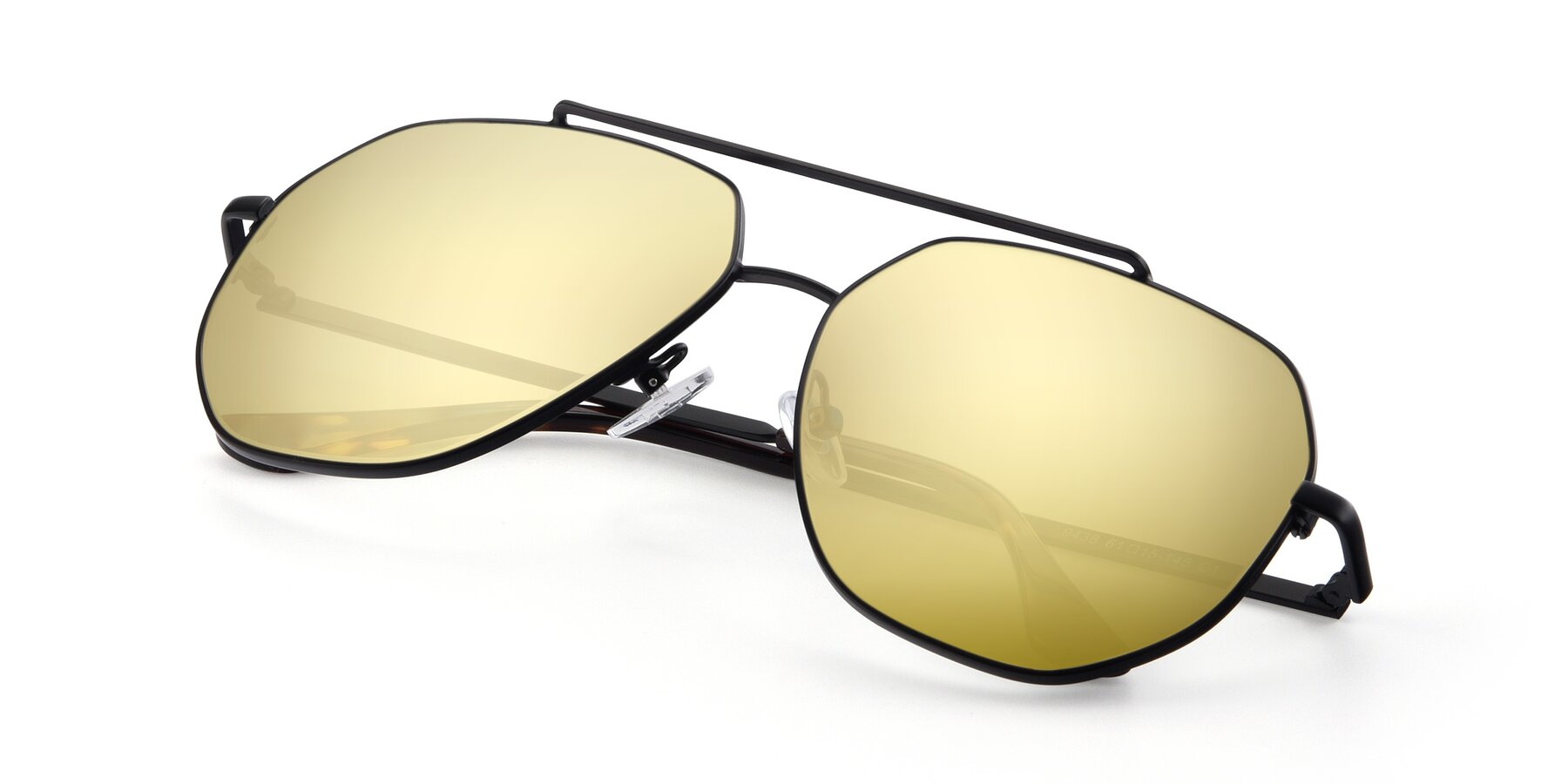 View of 9438 in Black with Gold Mirrored Lenses