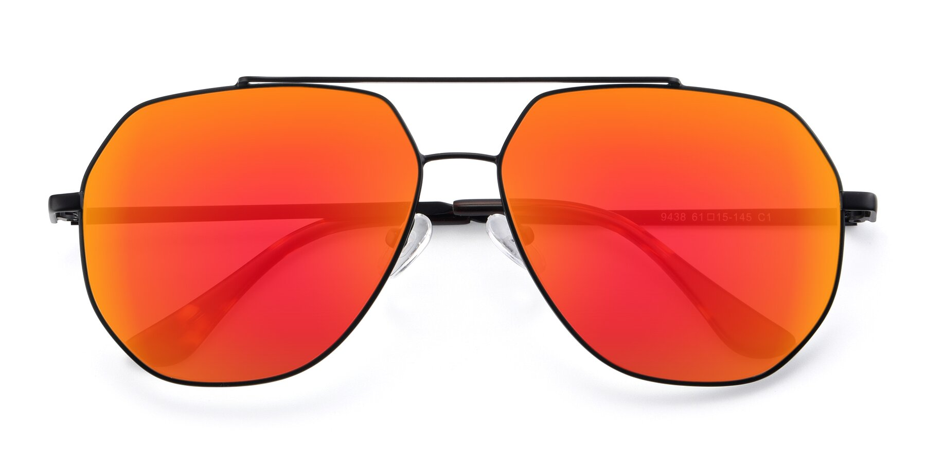 Folded Front of 9438 in Black with Red Gold Mirrored Lenses