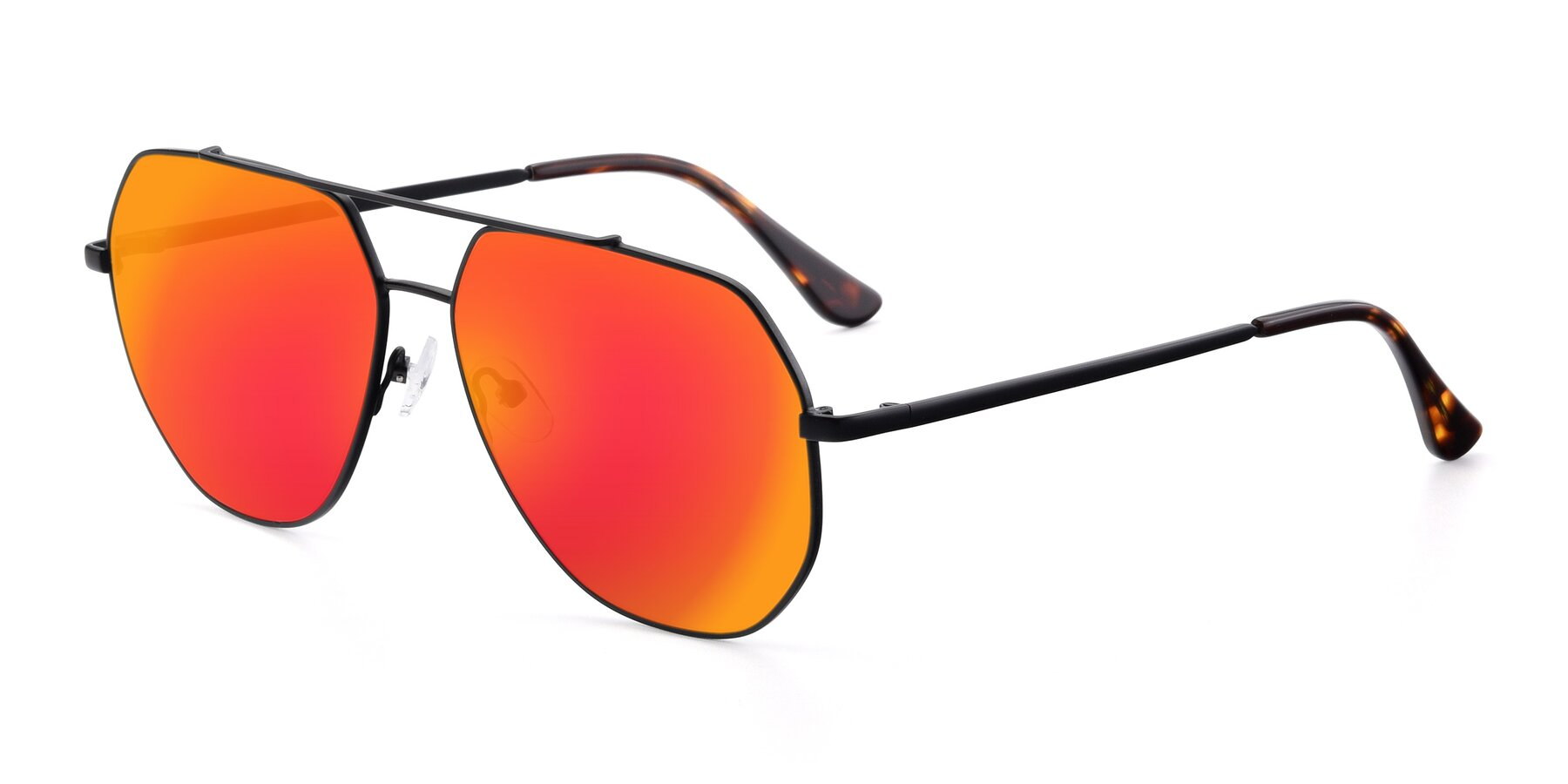 Angle of 9438 in Black with Red Gold Mirrored Lenses