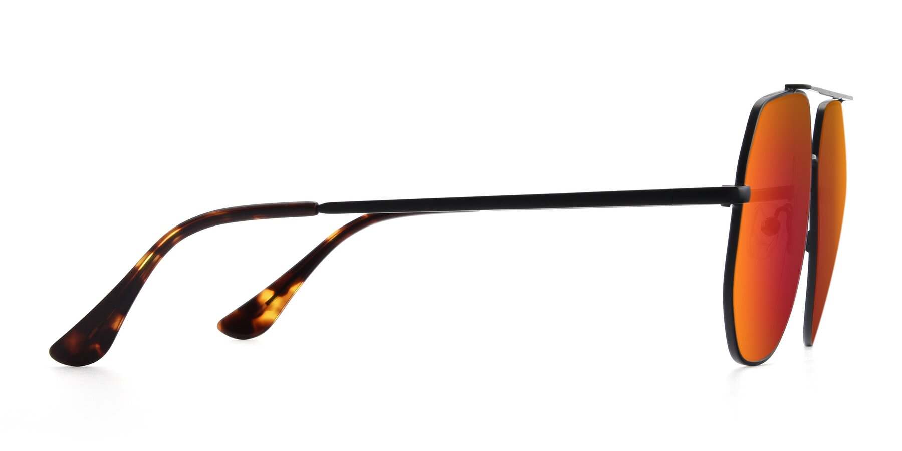 Side of 9438 in Black with Red Gold Mirrored Lenses