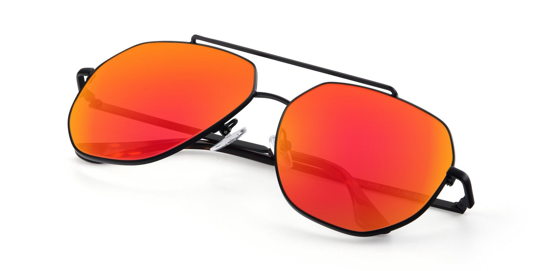 View of 9438 in Black with Red Gold Mirrored Lenses