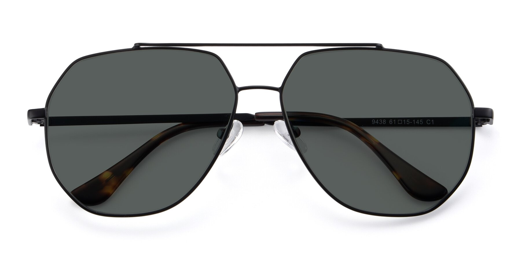 Folded Front of 9438 in Black with Gray Polarized Lenses