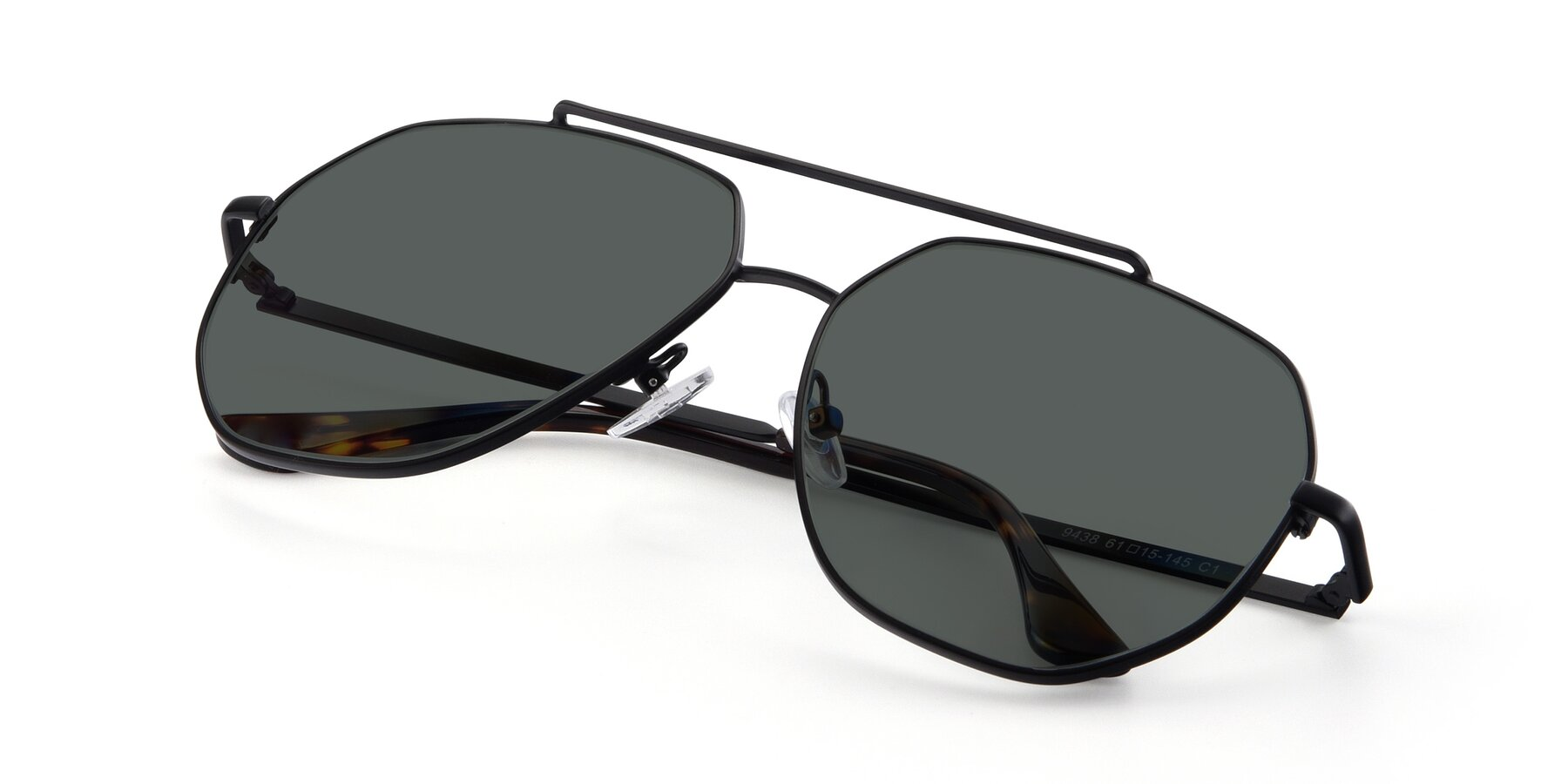 View of 9438 in Black with Gray Polarized Lenses
