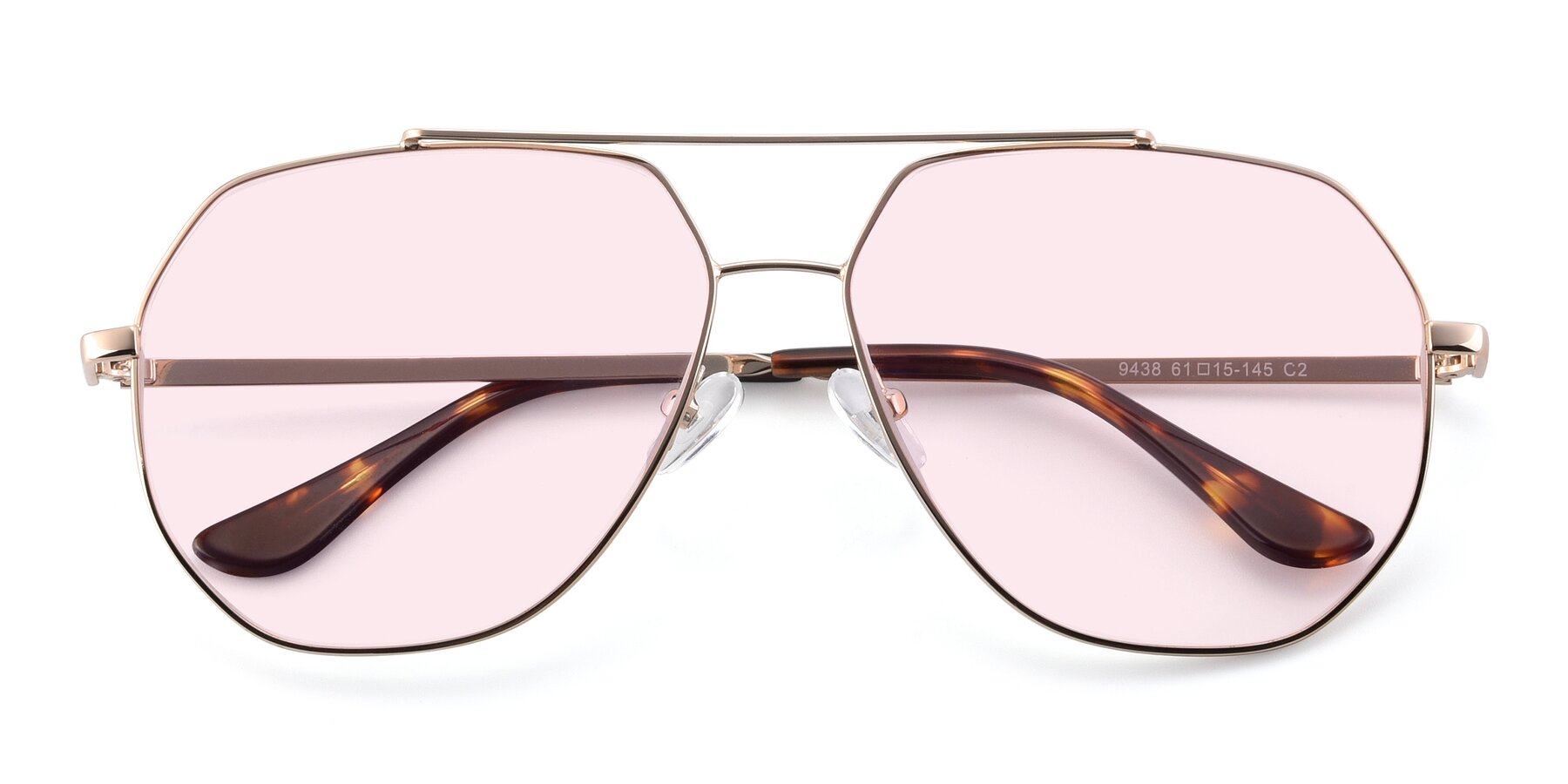 Folded Front of 9438 in Gold with Light Pink Tinted Lenses