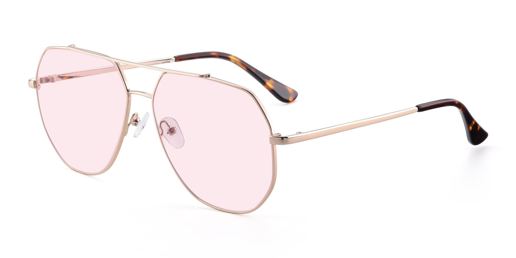 Angle of 9438 in Gold with Light Pink Tinted Lenses