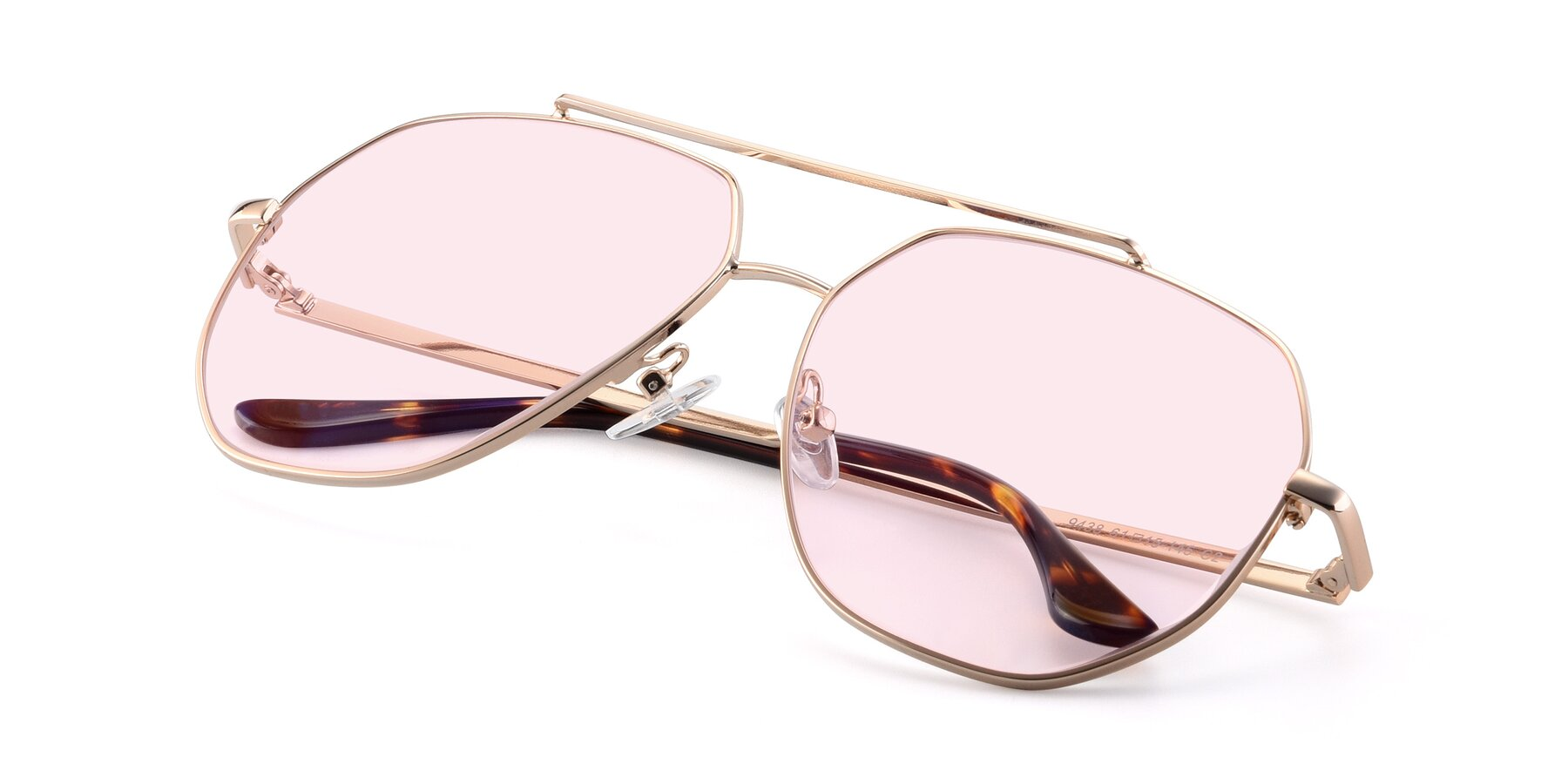 View of 9438 in Gold with Light Pink Tinted Lenses