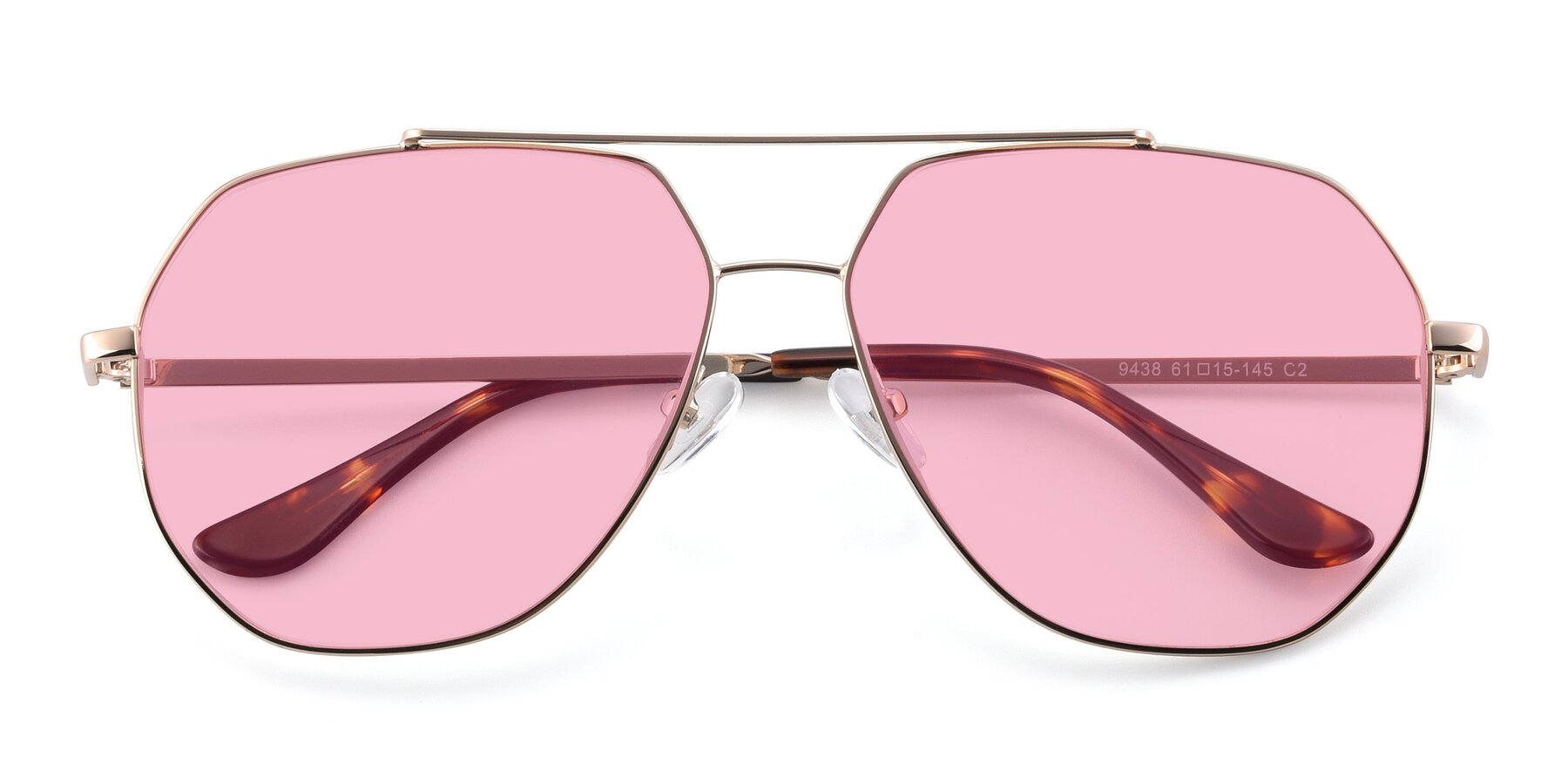 Folded Front of 9438 in Gold with Medium Pink Tinted Lenses