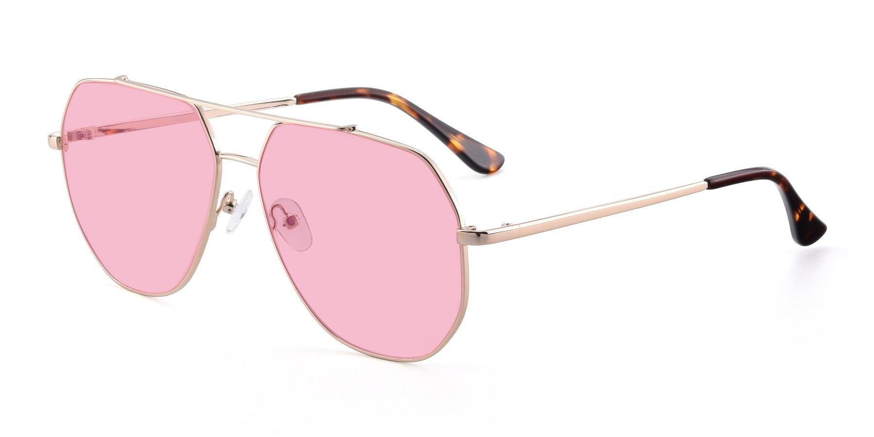 Angle of 9438 in Gold with Medium Pink Tinted Lenses