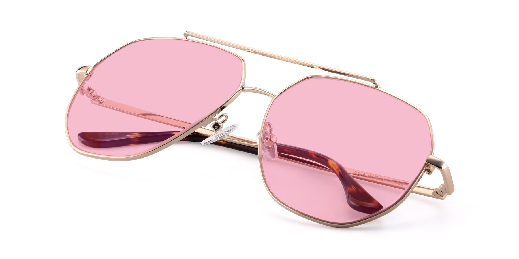 View of 9438 in Gold with Medium Pink Tinted Lenses