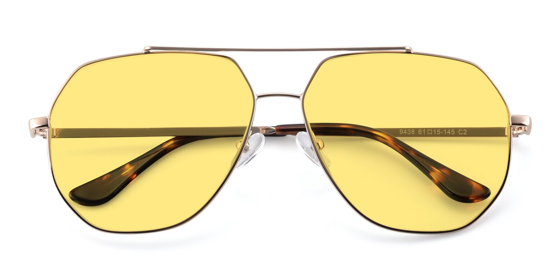 Folded Front of 9438 in Gold with Medium Yellow Tinted Lenses