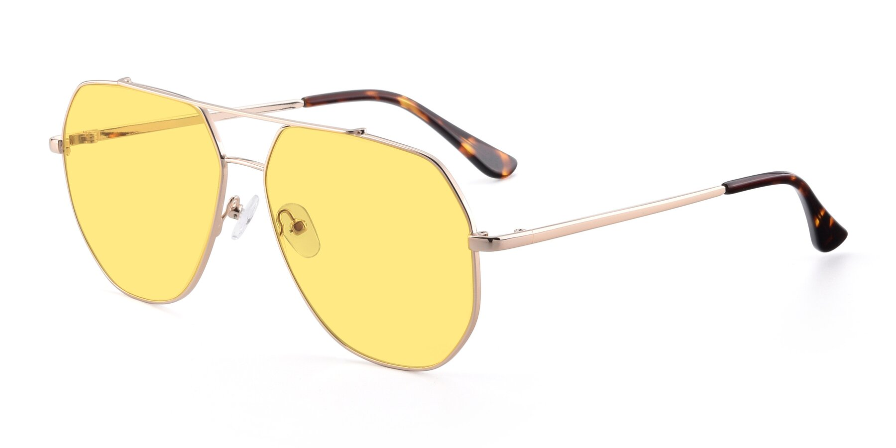Angle of 9438 in Gold with Medium Yellow Tinted Lenses
