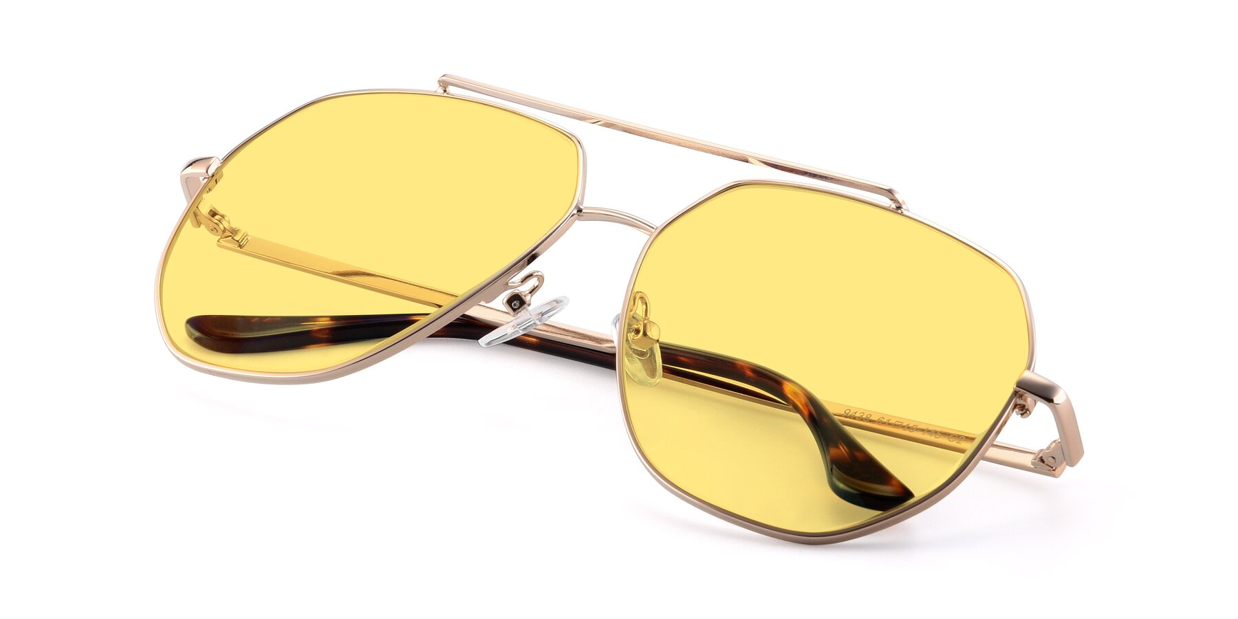 View of 9438 in Gold with Medium Yellow Tinted Lenses