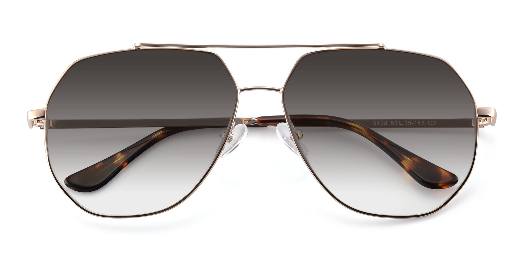 Folded Front of 9438 in Gold with Gray Gradient Lenses