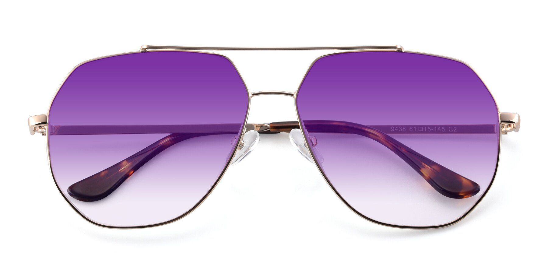 Folded Front of 9438 in Gold with Purple Gradient Lenses