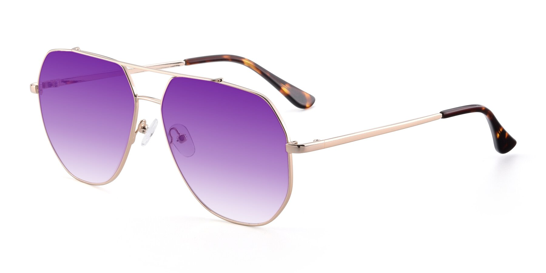 Angle of 9438 in Gold with Purple Gradient Lenses