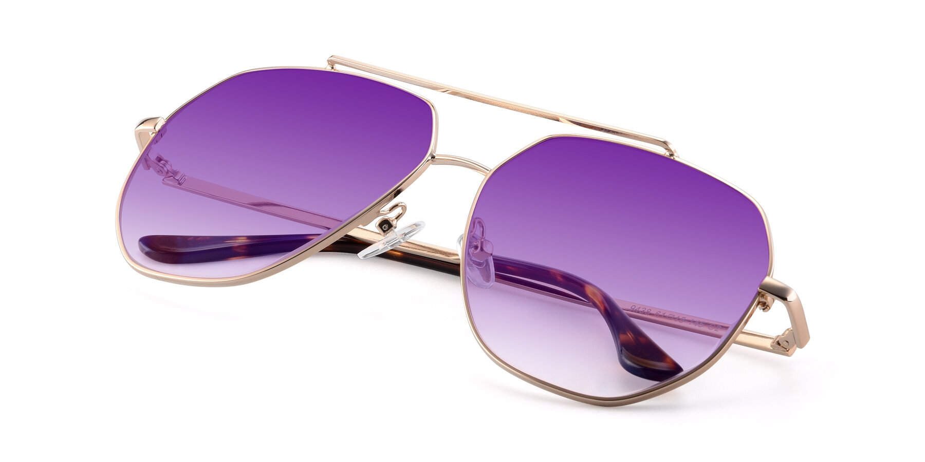 View of 9438 in Gold with Purple Gradient Lenses