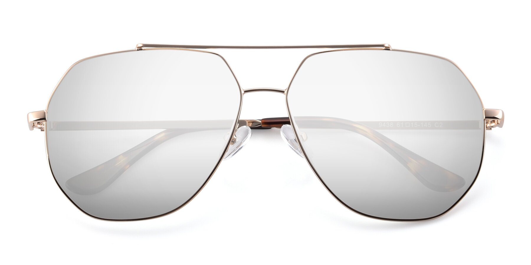 Folded Front of 9438 in Gold with Silver Mirrored Lenses