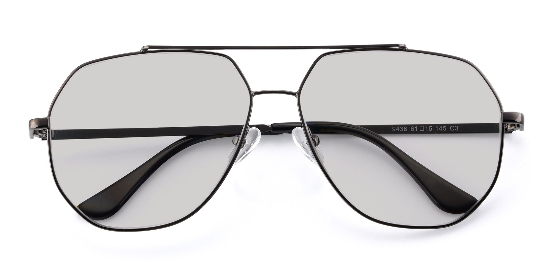 Folded Front of 9438 in Gunmetal with Light Gray Tinted Lenses