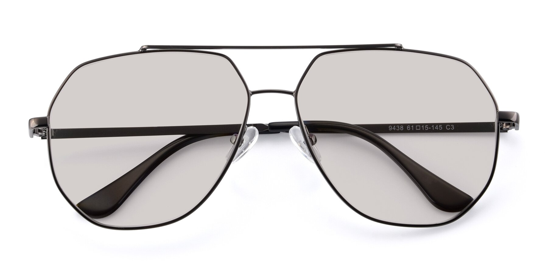 Folded Front of 9438 in Gunmetal with Light Brown Tinted Lenses
