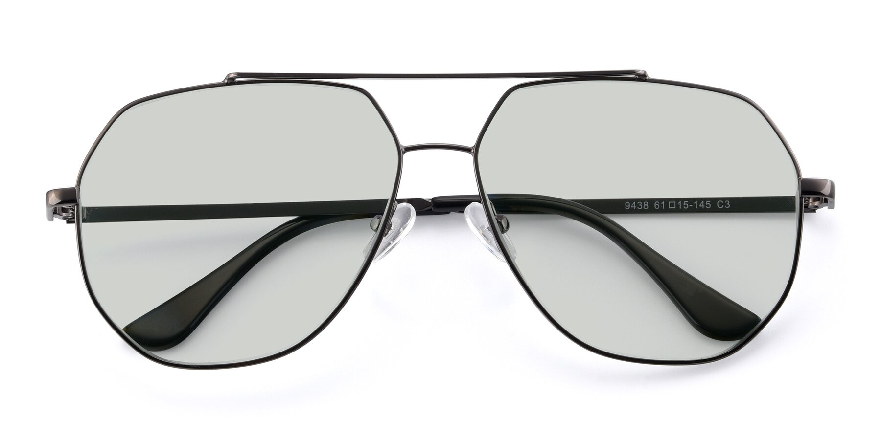 Folded Front of 9438 in Gunmetal with Light Green Tinted Lenses