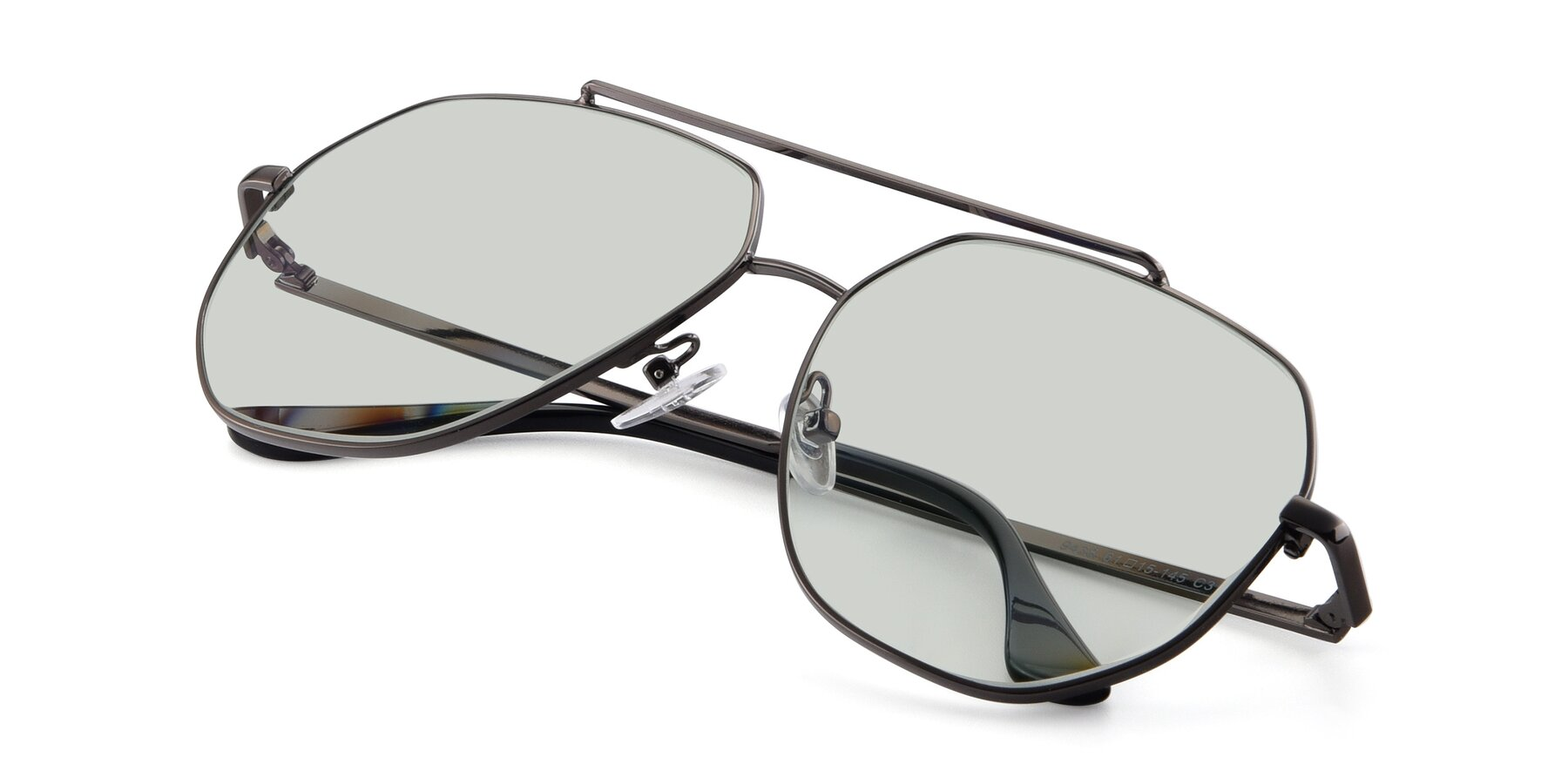 View of 9438 in Gunmetal with Light Green Tinted Lenses